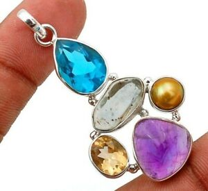 10g Natural Chevron Amethyst 925 Solid Sterling Silver Pendant Jewelry, GD6-8