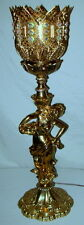 Unique Vintage Pierced Brass Iridescent Prisms Golden Flower Fairy Table Lamp