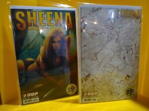 SHEENA Queen of the Jungle #1 lot of 2 2007 DDP #2 SKETCH VARIANT COVER!