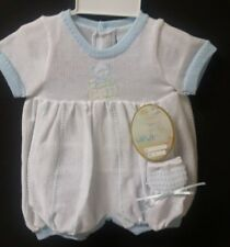 NWT Will'beth Newborn Baby Boy 0 White Blue Knit Romper Booties Reborn Doll Lot