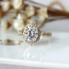 1.50 Ct Oval Cut White Moissanite Vintage Engagement Ring 14K Yellow Gold Plated