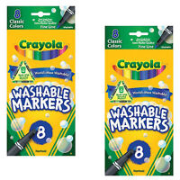(2 Pack) NEW Crayola Fine Line Washable Markers 8/Pkg Classic Colors
