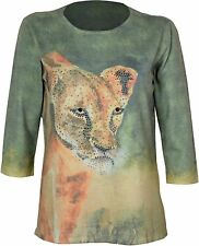 Womens Crew Neck Top jumper Leopard Print With Diamante Highlights