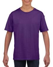 Plain Purple Childrens Kids Boys Girls Child Cotton Tee T-Shirt Tshirt Age 3-14