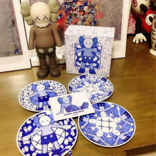 4Piece/Set Kaws Holiday Taipei 2019 Plate Limited Edition Ceramic Blue and White