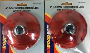 """2--ROADPRO RP-30248/1-4"""" Red Acrylic Lens with Decorative Glass Blue Center Dot"""