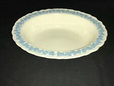 Wedgwood Embossed Queensware Lavender On Cream Shell Edge Oval Bowl MINTY