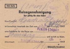 ANTIGUO reisegenehmigung PARA RESOLVER Una BILLETE von 1947 (agk1681)