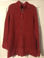 """Old Navy Red Zipper Front Crocheted Cardigan - XL - 32"""" LONG!"""