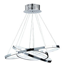Endon Kline 3 ring pendant 36W Chrome effect plate & frosted acrylic