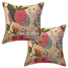 Indian Cotton Tropicana Beige 40 x 40 cm Kantha Embroidered Throw Pillow Covers