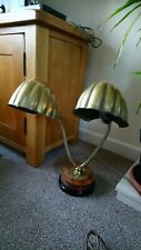 Antique Art Deco, twin head, Brass Clam Shell Lamp, Articulated, Gooseneck, desk