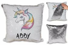 Personalised Cute Rainbow Unicorn Sequin Reveal Magic Cushion Cover