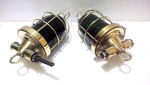 Marine Antique Rare Original Vintage Brass Passage Green Light 1 Set
