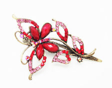 """ICON 4"""" RED BUTTERFLY MULTI CRYSTAL ACRYLIC GOLD HAIR CLIP CLAW BARRETTE NEW"""
