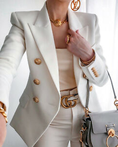 White Double-breasted Blazer Gold Tone Buttons long sleeves