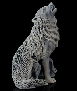 """Wolf Howling at the Moon Marble Figurine Stone Sculpture Russian Art Statue 4"""""""