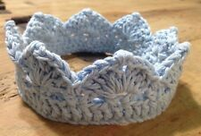 Corona Bebe Azul Claro Talla 0/3 Atrezo Fotografía Crochet Ganchillo Cinta Nuevo