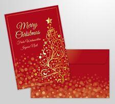 """10-er Weihnachtskarten Set """"GOLDENER WEIHNACHTSBAUM"""" mit Umschlägen"""