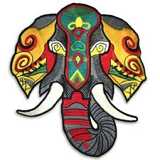 Large 8.5 inch Tribal Elephant patch, sew on, shipped from USA