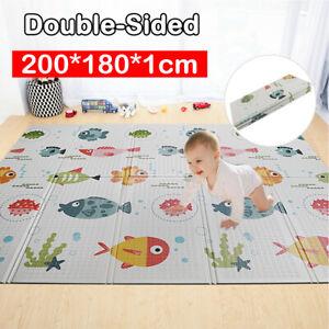 2 Side Baby Kids Play Mat Soft Crawling Folding Thick Cartoon Waterproof Carpet
