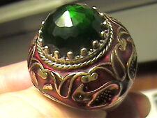 VINTAGE Green topaz  SILVER RING 8 MEDIEVAL Ottoman enamel STERLING 925 BIG RARE