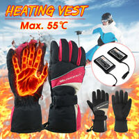 Rechargeable Battery Electric Heated Gloves Outdoor Winter Warm Waterproof @