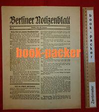 BERLINER NOTIZENBLATT (10. Januar 1919): RUHIG BLUT (Spartakus-Aufstand)