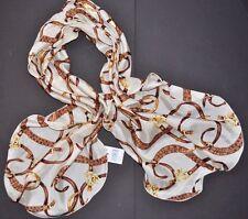 Ralph Lauren POLO Equestrian SILK SCARF Wrap WOMEN BRIDLE Shawl Ivory Belts