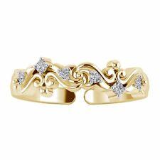 Toe Ring 14k Yellow Gold Over 0.07 Carat Diamond Designer Adjustable Women's