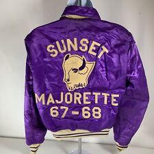 Vintage Sunset High School Majorette Purple Satin Reversible Jacket Dallas Texas