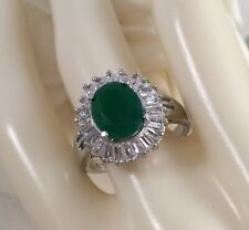 Vintage Jewellery Gold Ring with Emerald White Sapphires Art Deco Jewelry 9 S