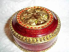 Beautiful Red and Gold Colored Heavy Metal Trinket Box