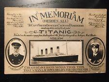 1912 Rare Titanic Postcard - In Memoriam of the Officers, Crew and Passengers