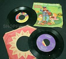 2 Vintage 45 RPM Records Cricket Records Ray Heatherton Sing Along + Dean Martin