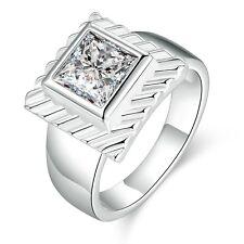 Fidanzamento Bianco Zircone Quadrato medio lucido diametro dell'anello 17 mm
