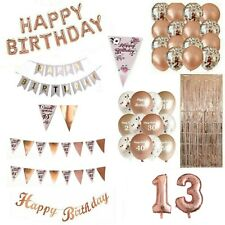13TH 13 ROSE GOLD HAPPY BIRTHDAY BUNTING BANNER CONFETTI BALLOONS DECORATIONS