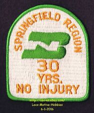 LMH PATCH Badge  BURLINGTON NORTHERN Springfield Division BN 30 NO INJURY Years