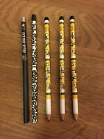 Felix the Cat 5 Vintage Wooden Pencils Lot Black Yellow 90s New Unused Rare
