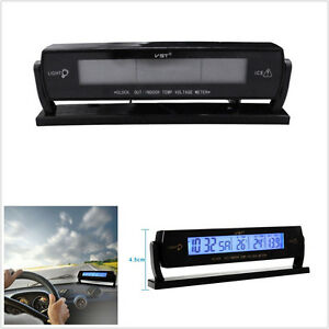 12V Blue LED Backlight Car Digital Temperature Voltage Monitor + Clock Function