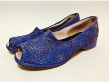 Vintage 1940's Blue Embroidered Boudoir Slippers House Shoes Peep Toe Size 7.5