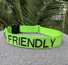 FRIENDLY Green Dog Collar - High quality personalised embroidered ID collars
