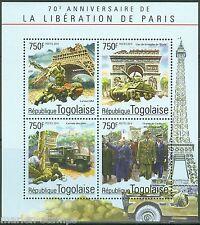 TOGO 2014 70th ANN LIBERATION OF PARIS CHARLES deGAULLE  CHURCHILL SHEET  MINT