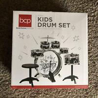 6 Piece Kids Beginner Drum Musical Instrument Set Sticks Stool Pedal New Sealed