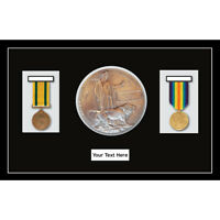 Medal Frame World War Military Medals & Memorial Plaque - Black Mount