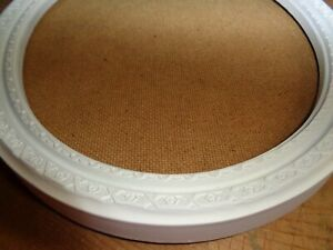 "LARGE WHITE EMBOSSED PLASTIC OVAL PICTURE FRAME no Glass  13"" X 10"""
