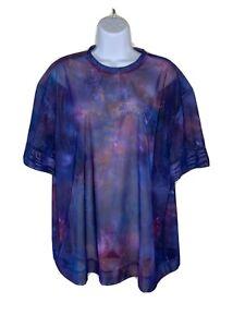 ATHLETA Women Short Sleeve Mesh oversized Top 1X Mix colors