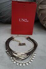 NWT Uno De 50 Silver Bead Brown Multi Leather Strand ITIMU Bib Necklace Choker