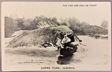 Exaggeration RPPC BW  Postcard 'The Fish are Full of Fight' Jasper Park Alb CAN