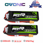 2X OVONIC 2200mah 11.1V 25C 3S Lipo Battery XT60 for RC Helicopter Airplane JET